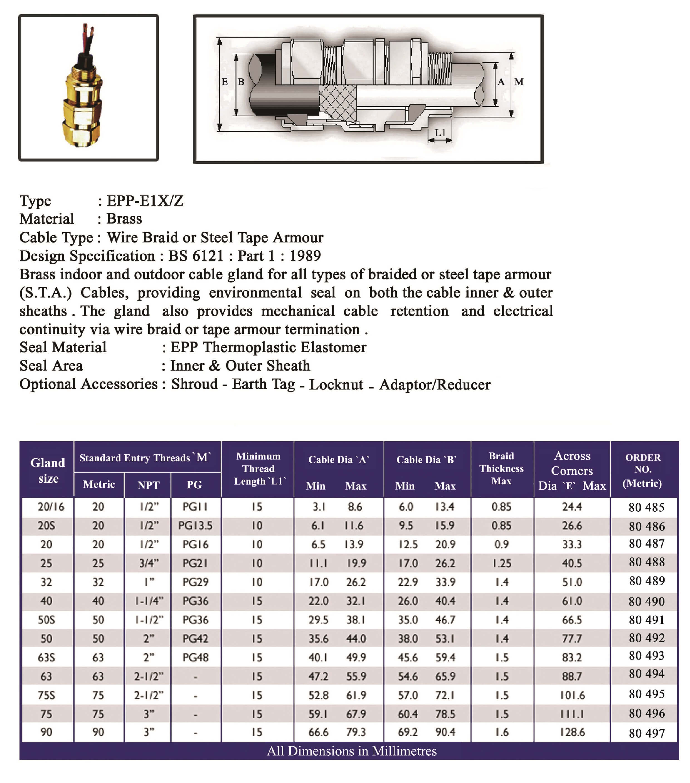 E.P.P - E1XZ Technical Datasheet
